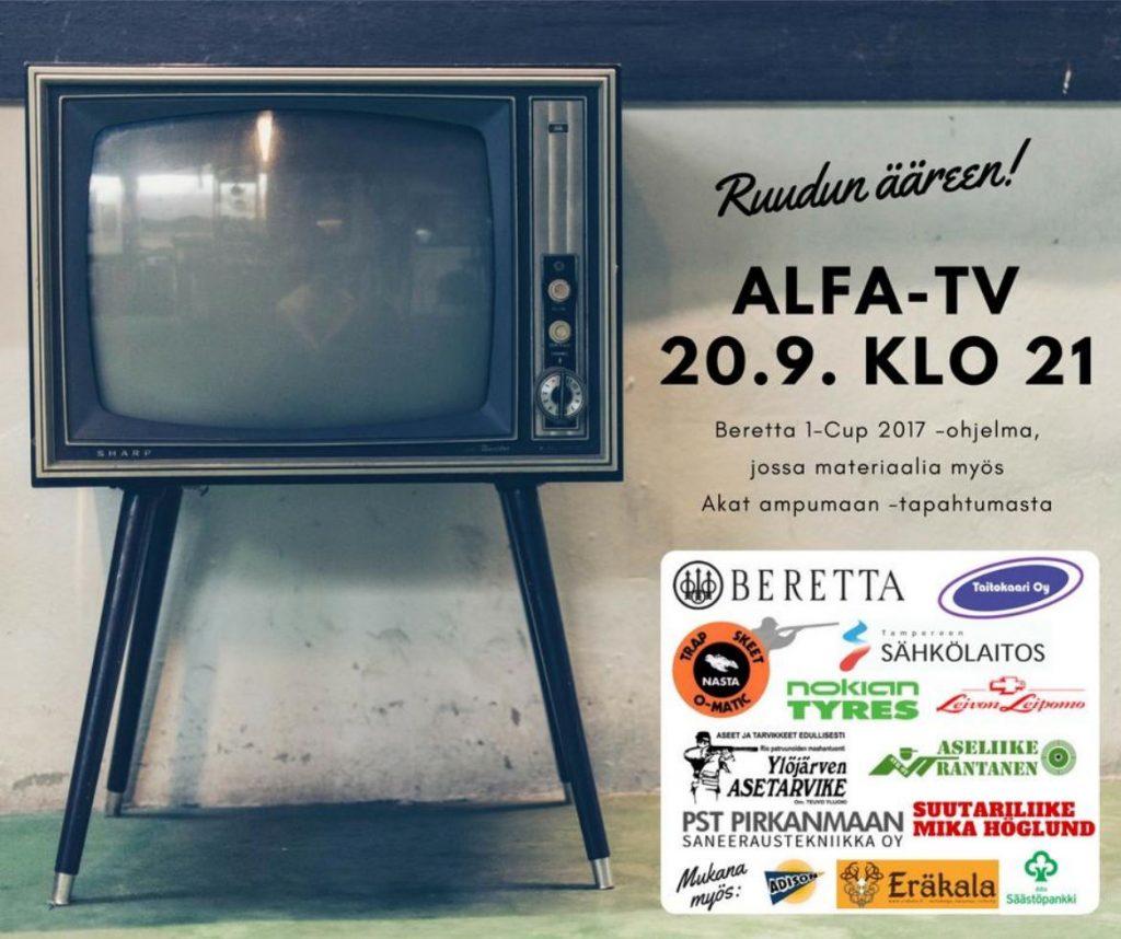 Beretta 1-Cup 2017 ohjelma Alfa-TV:llä 20.9. kello 21.00